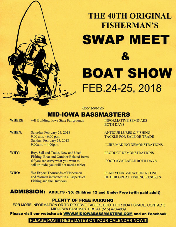 The 2018 Swap Meet will be held on February 24